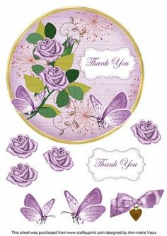 Lilac Rose Thank You 7in Circle Decoupage Topper on Craftsuprint - Add To Basket!