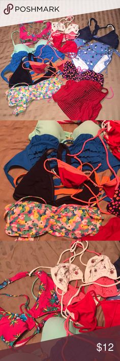 14 Piece Lot of EUC bathing suit pieces! 1 bikini set, 1 Nike one piece and 11 bikini tops! Lots of great choices and sizes. Various brands and sizes. Will not separate lot. Great for beach babe or family of girls to share! Fast shipping and bundle discounts. Nike Swim