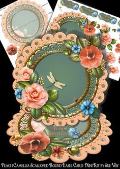Peach Camellia Scalloped Round Easel Card Mini Kit on Craftsuprint designed by Sue Way - A luxurious round easel card full of plump peach camellias on a pretty scalloped frame, with an embossed gold centre. This unusual design is simple to make, but looks so effective