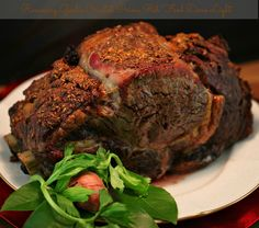 Rosemary Garlic Crusted Prime Rib The perfect recipe for Christmas. Rosemary Garlic Crusted Prime Rib www. Rib Recipes, Roast Recipes, Cooking Recipes, Healthy Recipes, Recipies, What's Cooking, Healthy Christmas Dinner Recipes, Holiday Recipes, Holiday Dinner