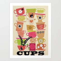 cups! Art Print by Elisandra | Society6