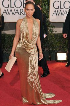ELLE - January 11, 2009 - In a plunging metallic Marchesa dress at the Golden Globes. - Getty Images