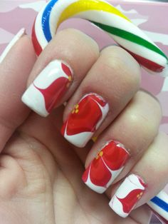 Christmas poinsetta water marble nails 2013