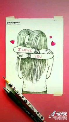 Art Drawings Sketches Simple, 3d Art Drawing, Girl Drawing Sketches, Girly Drawings, Art Drawings For Kids, Pencil Art Drawings, Art Painting Gallery, Drawings Of Friends, Crafts