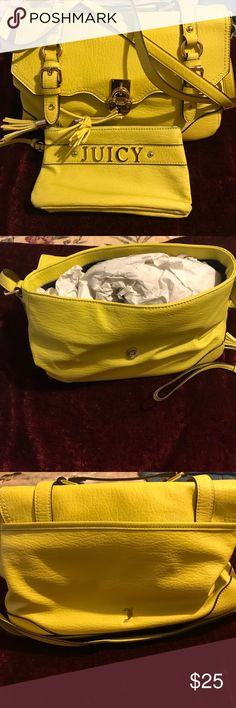 Trendy Purse and Wristlet. Trendy bright yellow purse/wristlet set. Gently used. Some wear on the wristlet, discoloration shown in photo. Juicy Couture Bags Satchels