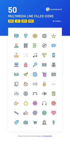 Multimedia Line Filled  Icon Pack - 50 Filled Outline Icons
