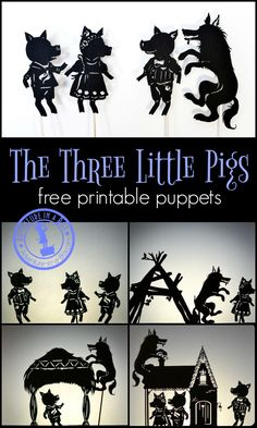Tri prasiatka tieňové divadlo * The Three Little Pigs: free printable shadow puppets. Print, cut and stage a shadow puppet show with your kids! Shadow Theatre, Puppets For Kids, Traditional Tales, Puppet Crafts, Art Prompts, Writing Prompts, Printable Pictures, Three Little Pigs, Shadow Play