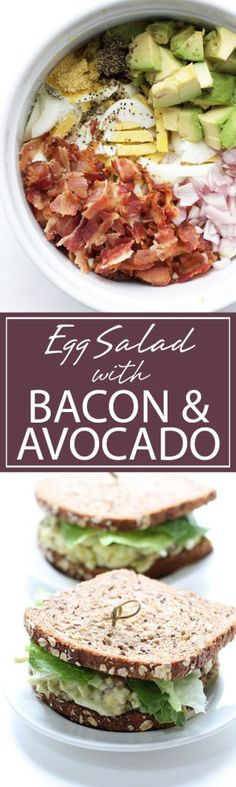 A mouthwatering egg salad with bacon and avocado. Egg Salad with Bacon & Avocado |Perfect for a quick lunch or brunch. Avocado and bacon add to this classic. A DELICIOUS bite | forkknifeandlove.com