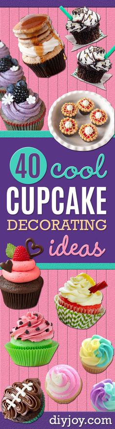 cupcake decorating ideas - easy Ways To Decorate Cute, Adorable Cupcakes - Quick Recipes and Simple Decorating Tips With Icing, Candy, Chocolate, Buttercream Frosting and Fruit - kids birthday party ideas cake Fondant Cupcakes, Wedding Cakes With Cupcakes, Fun Cupcakes, Birthday Cupcakes, Cupcake Cookies, Decorated Cupcakes, Easy Buttercream Frosting, Chocolate Buttercream, Cupcake Illustration