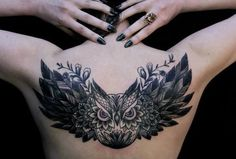 Owl tattoo.. Looking for a cover up for the home job of my daughters name on my back.