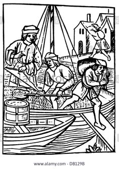 """trade, transportation of goods, inspector supervising the loading and measuring of salt, after woodcut, """"Ordonnances de la Stock Photo 18th Century, Transportation, Sailing, Stock Photos, Farmer, Illustration, Salt, Image, Candle"""