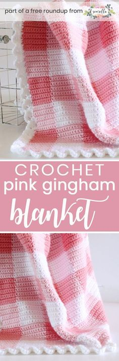 Crochet this easy beginner Pink Gingham baby blanket from Daisy Farm Crafts from my best free crochet baby blankets for girls roundup!