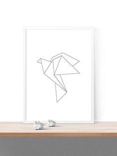 printable origami bird wall decor // instant by spellandtell