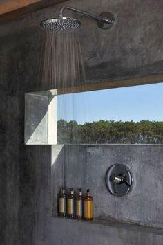 windows shower glimpse concrete bathroom  Japanese Trash masculine design obsession inspiration
