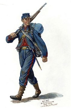 This is an example of an American Civil War uniform. They were typically blue in color with red accents symbolizing their fight and cause.