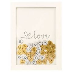 After the wedding, this unique Gold Love Heart Drop Guestbook will keep the signatures of treasured loved ones safe as a gorgeous piece of décor. 50th Wedding Anniversary, Anniversary Parties, Anniversary Ideas, Cute Gifts, Diy Gifts, Unique Baby Shower, Guest Book Alternatives, Wooden Hearts, My New Room