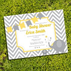Elephant Chevron Baby Shower Invitation for a Boy or Girl - Instantly Downloadable and Editable File - Personalize at home with Adobe Reader on Etsy, $5.00