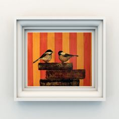 contemporary earth art's chickadees print... love the background