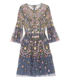 Dragonfly Garden Embellished Embroidered Dress by Needle & Thread Mini Slip Dress, Long Sleeve Mini Dress, Dress Long, Blue Flower Dress, Blue Cocktail Dress, Cocktail Dresses, Embellished Dress, Embroidery Dress, Tulle Dress