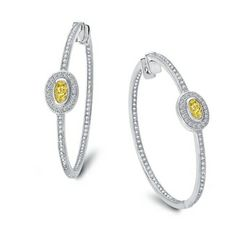 Lafonn Earrings    SIMULATED CLEAR/CANARY DIAMOND STERLING SILVER BONDED WITH PLATINUM
