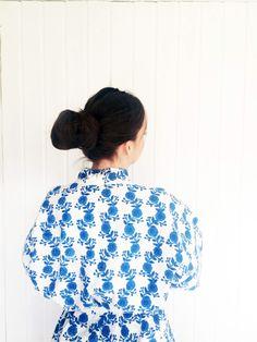 Yukata, Organic cotton, Blockprinted by evalunda