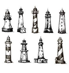Set of cartoon lighthouses icons pencil drawing vector by kamenuka on VectorStock®