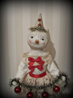 Hey, I found this really awesome Etsy listing at https://www.etsy.com/listing/213783721/christmas-snowman-girl-paper-mache