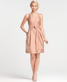 3a18ecc3e0 Ann Taylor Silk Dupioni Vneck Bridesmaid Dress in Pink (lush sangarita)  Empire Waist Bridesmaid