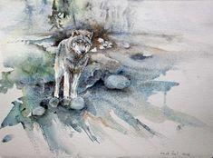 """Unsere Ausstellung """"Wildes Land""""   Suchender (c) ein Wolfs Aquarell von Hanka Koebsch"""