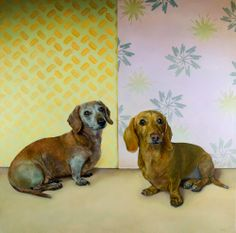 """Stella """"Hot Dog"""" & Goldie """"the Tank"""", oil on canvas, 36 x 36"""