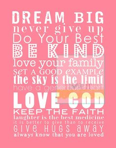 Dream Big Be Kind Love God // Shabby Chic Cottage by iloveitall, $32.00
