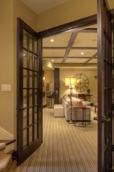 "Basement Entrance ~~ Double doors at the stair landing creates a more ""separate"" entrance feel when closed."