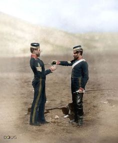 """""""Two sergeants, 4th Light Dragoons""""  Creator: Roger Fenton, date created/published: 1855."""