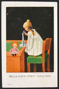 Girl on Telephone Hello Mama Christmas Postcard