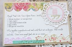 Angel Food Cake Sauce Recipe Card (created with paper scrapbooking supplies)