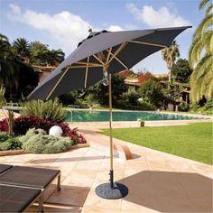 Galtech 9 ft. Light Wood Quad Pulley Rotational Tilt Umbrella - Henna Sunbrella, As Shown