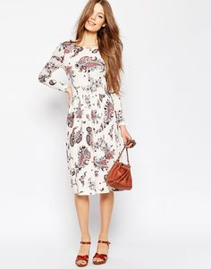 Shop ASOS Midi Dress In Paisley Print at ASOS. Online Shopping Clothes, Paisley Print, Pretty Little, Fashion Online, Asos, Cold Shoulder Dress, Glamour, Womens Fashion, Mode Online