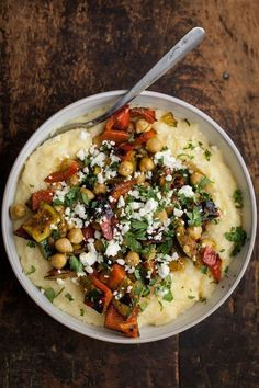 Curry Grilled Vegetables with Chickpeas and Creamy Polenta (use a Vegan spread and forget the feta)