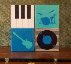 Set of four music instrument paintings