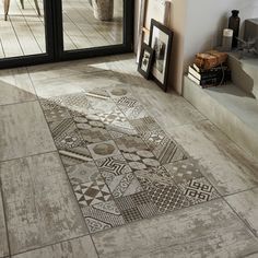 Love this tile for the shower. can frame it in white washed wood tile on one wall and just have white washed wood on the other wall with the darker shade of wood on the floor continuing into bedroom. Floor Design, Tile Design, House Design, Floor Patterns, Kitchen Flooring, Flooring Tiles, Cement Tiles, Interior And Exterior, Tile Floor