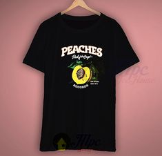 Peaches Vintage Records T Shirt available for men/women size. The picture will be printed using Direct To Garment (DTG) Printing Technology in full color with durable photo quality reproduction NOT use heat transfer method. 80s Tees, Vintage Records, Photo Quality, Fruit Of The Loom, Graphic Shirts, Peaches, Ink, Technology, Free Shipping