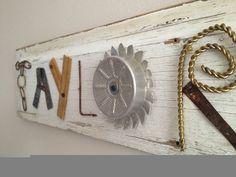 lettered junk folk art sign on outsider antique vintage white washed old barn wood. $50.00, via Etsy.