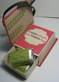 Match Box Book for chocolates using Stampin' Up! die (possibly for volunteer tea? and check out Pals' Paper Arts August hop with Mike Funke for his version Matchbox Crafts, Matchbox Art, Tarjetas Diy, 3d Paper Crafts, Foam Crafts, Paper Art, Envelope Punch Board, Candy Gifts, Little Gifts
