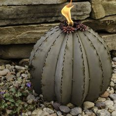Golden Barrel Cactus Garden Art Outdoor Torch