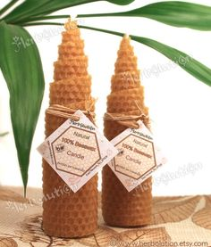 Pure natural Beeswax candle eco-friendly holiday gift duo set of 2 tapers. $9.00, via Etsy.