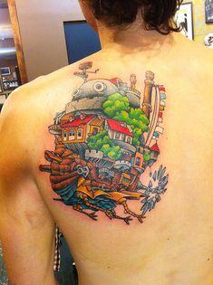 61 Studio Ghibli Tattoos Inspiriert von Miyazaki Films - 61 Studio Ghibli Tattoos Inspired By Miyazaki Films Howl's Moving Castle Tattoo Tatuaje Studio Ghibli, Studio Ghibli Tattoo, Tattoo Studio, Hayao Miyazaki, Miyazaki Tattoo, Howl's Moving Castle Tattoo, Howls Moving Castle, Incredible Tattoos, Beautiful Tattoos