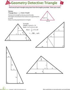 Fourth Grade Geometry Multiplication Algebra & Functions Worksheets: Find the Area of a Triangle Geometry Lessons, Teaching Geometry, Geometry Activities, Geometry Worksheets, Math Worksheets, Math Resources, Teaching Math, Printable Worksheets, Triangle Maths