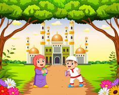 The children are walking and playing near the beautiful mosque Premium Vector Floral Wallpaper Iphone, Kids Wallpaper, Wallpaper Backgrounds, Kids Background, Background Banner, Vector Background, Ramadan Photos, Mosque Vector, School Cartoon
