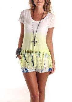 Camiseta Feminina Tye Die com Franjas |http://www.aqmp.com.br/malha-azul-royal/p