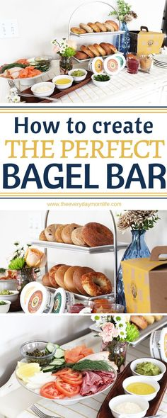 This bagel bar is a simple way to serve your guests and still enjoy the party when you're entertaining. Everyone will love the set up. See how to create it! How To Create The Perfect Bagel Bar – The perfect bagel bar – The Everyday Mom Life Brunch Buffet, Brunch Menu, Brunch Recipes, Breakfast Recipes, Brunch Ideas, Brunch Food, Potluck Ideas, Top Recipes, Family Recipes